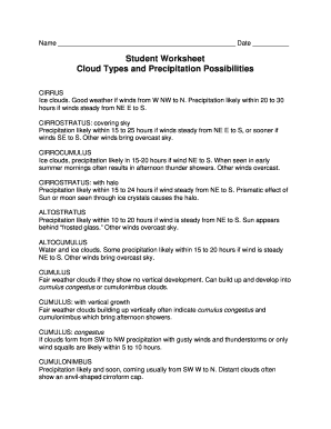 Cloud Types Worksheet - Templates and Worksheets