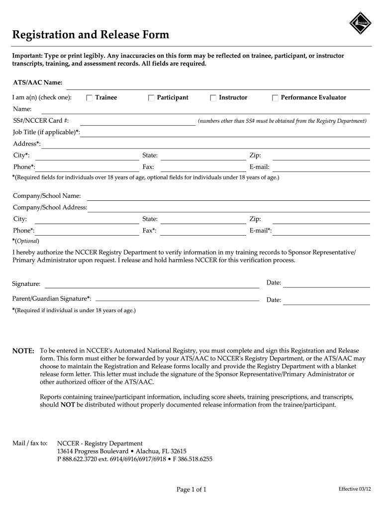registration form nccer release pdffiller forms printable