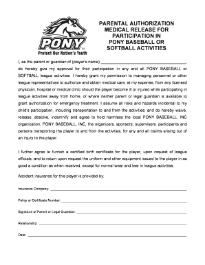 pony medical release form