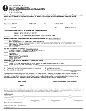Medical Records Request and Release Form - California State ...