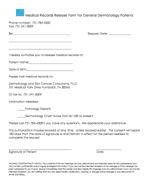 Medical Records Release Form For General Dermatology Patients