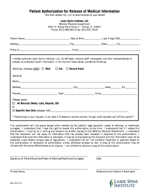 Medical Records Release Form  Medical Record Release Form Template