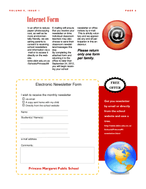 Electronic Newsletter Form - Princess Margaret Public School