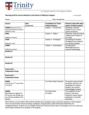 Doctor of Ministry Course Planning Chart