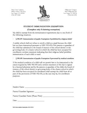 DCS Immunization Exemption 2014 2015