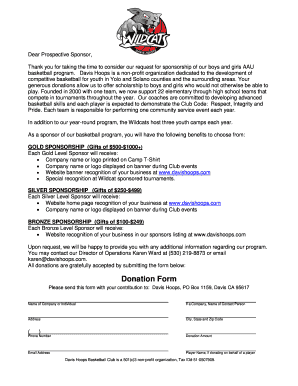 sponsorship thank you wording forms and templates fillable