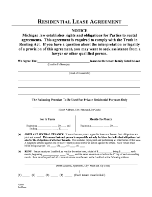 7 Printable Standard Lease Agreement Michigan Forms And