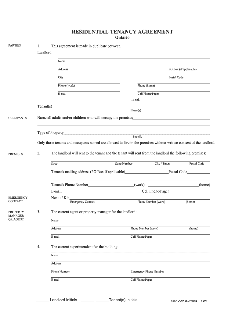 Blank Tenancy Agreement Fill Online Printable Fillable