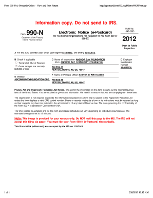 Fillable Online abcf Aco Form 990-N (e-Postcard) 1212 - Anchor Bay ...