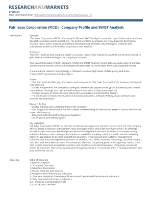 Fair Isaac Corporation (FICO) : Company Profile and SWOT Analysis