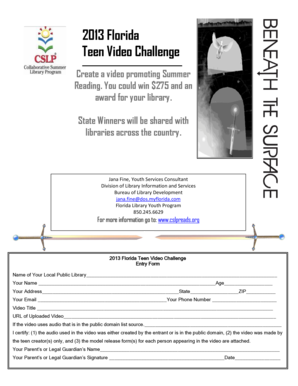 Entry Form - Collaborative Summer Library Program - cslpreads