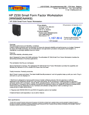 Fillable Online HP Z230 Small Form Factor Workstation