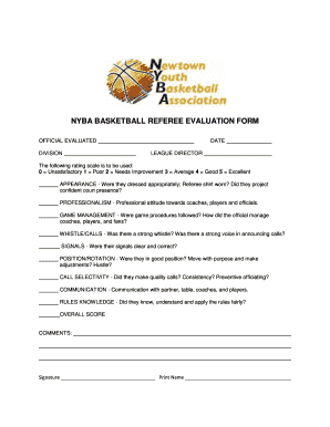 Fillable Online NYBA BASKETBALL REFEREE EVALUATION FORM Fax Email ...