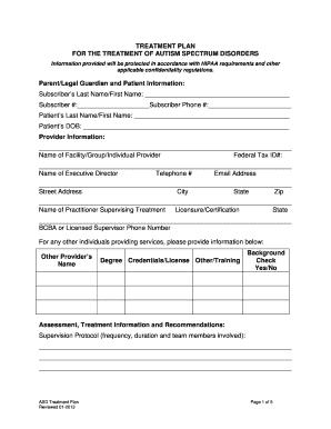 Fillable Online UBH ASD Initial Treatment Plan - Provider ...
