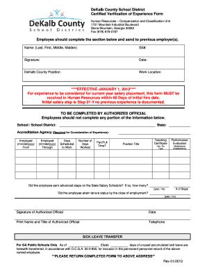 dekalbk12 Fillable Online dekalb k12 ga Certified Verification of Experience ...