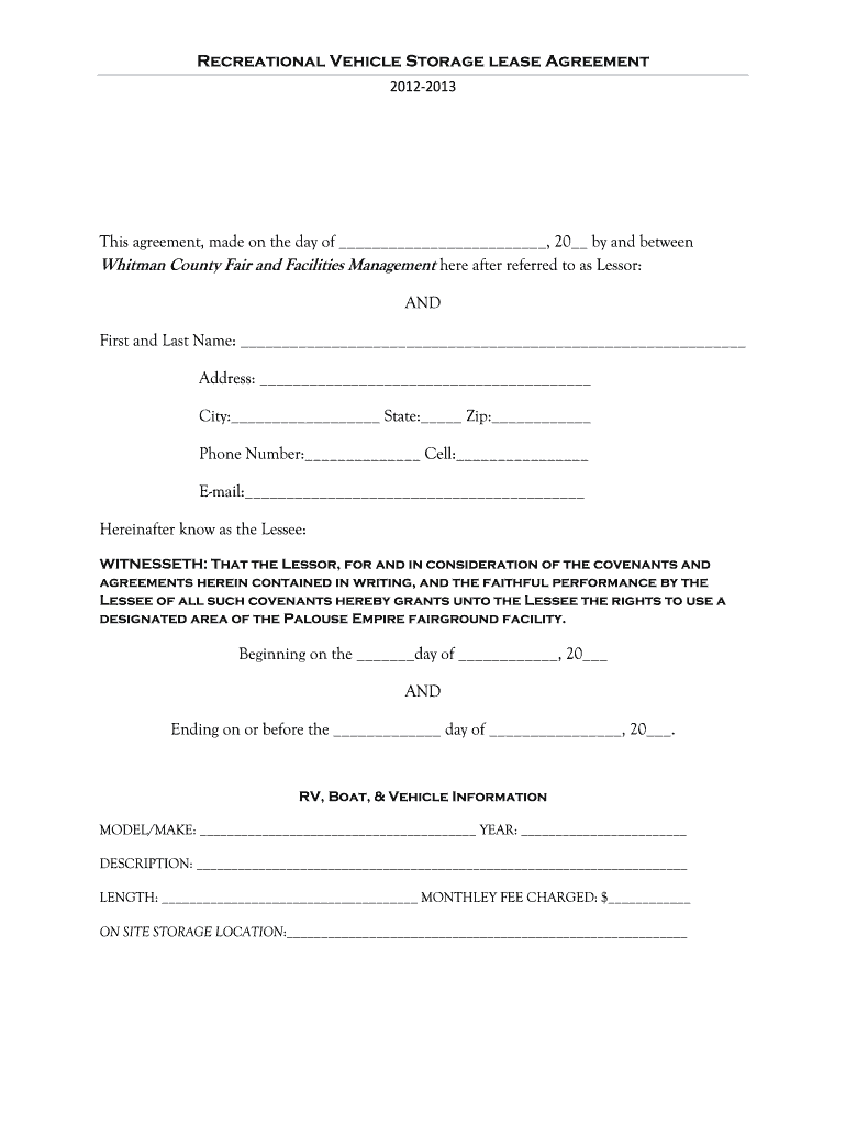 Simple Storage Agreement Fill Online Printable Fillable Blank Pdffiller