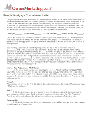 Sample Mortgage Commitment Letter Free sample contracts Mortgage Commitment Letter