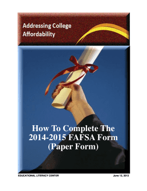 How To Complete The 2014-2015 FAFSA Form (Paper Form)