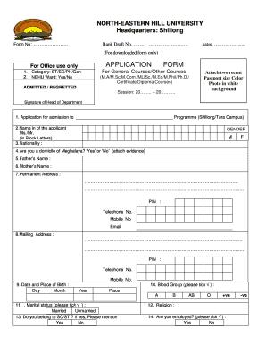 Nehu Scholarship Form Fill Online Printable Fillable Blank