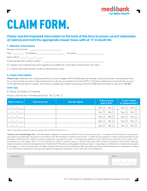 medibank private claim form