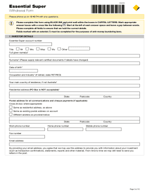 essential super withdrawal form