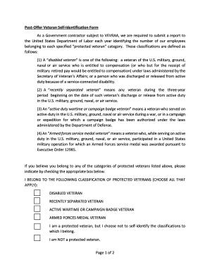 Fillable Online shsu Post-Offer Veteran Self-Identification Form ...