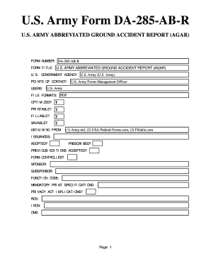 Fillable Online U.S. Army Form DA-285-AB-R - U.S. Federal Forms ...