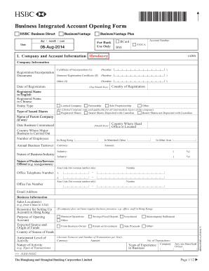 Fillable Online Business Integrated Account Opening Form