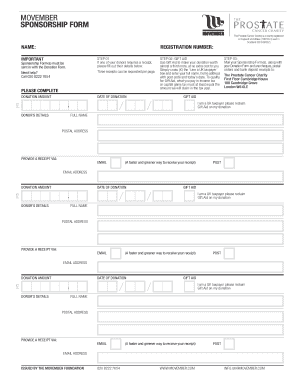 Movember Sponsorship Form - Fill Online, Printable, Fillable ...