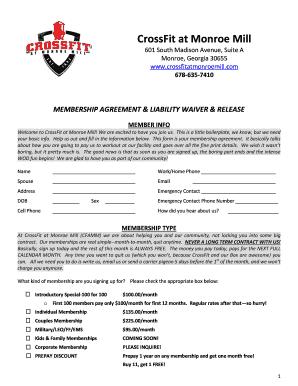 Membership agreement form ibovnathandedecker fillable online membership agreement crossfit at monroe mill fax maxwellsz