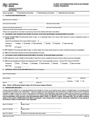 Nbcn Client Authorization For Electronic Funds Transfer Form ...