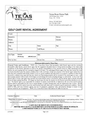 Fillable Online Golf Cart Rental Agreement Texas Rose