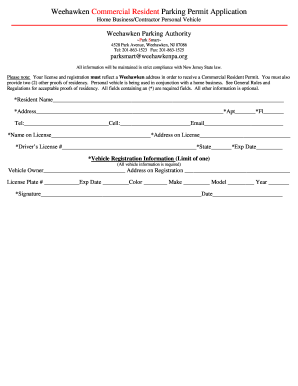 weehawken parking authority Fillable Online Weehawken Parking Authority Fax Email Print - PDFfiller