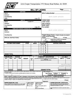 Aaa Cooper Tracking >> Aaa Cooper Bol - Fill Online, Printable, Fillable, Blank | PDFfiller
