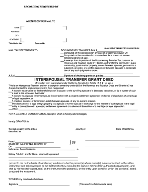 Fillable Online Interspousal Transfer Grant Deed Fill - Eaton ...