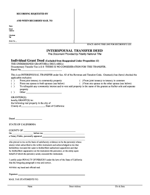 Fillable Online INTERSPOUSAL TRANSFER DEED Fax Email Print - PDFfiller