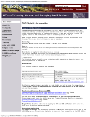 Office of Minority Women and Emerging Small Business DBE Eligibility Information