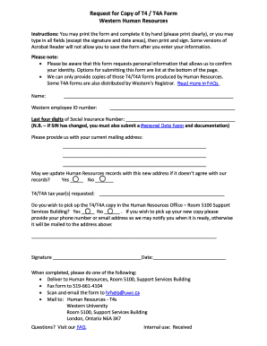 Fillable Online uwo Request for Copy of T4 / T4A Form Western ...