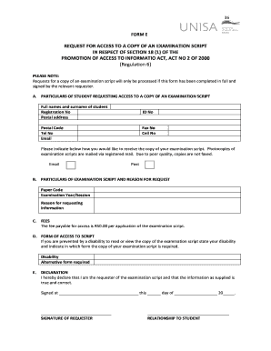 unisa recheck application form