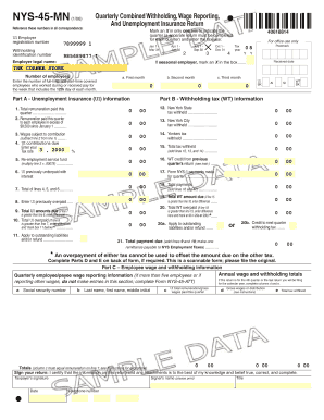 Fillable Online Form NYS-45-MN: January 2006, Quarterly Combined ...