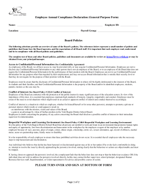 Employee Annual Compliance Declaration (General Purpose Form ...