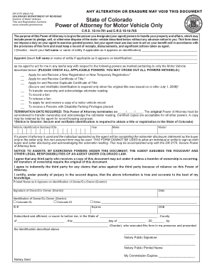 Bill Of Sale Form Oregon Motor Vehicle Power Of Attorney Form ...