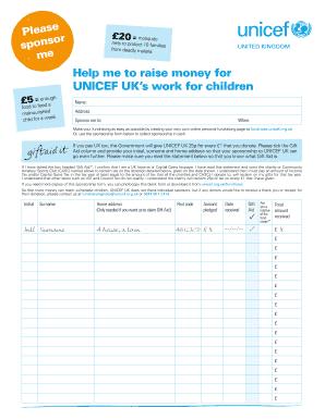 Unicef Sponsorship Form