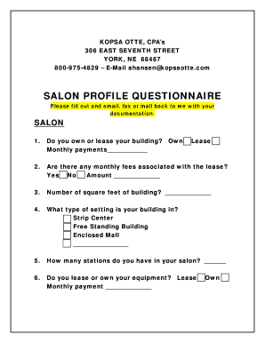 Salon Profile Questionnaire - Kopsa Otte