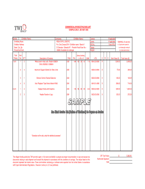commercial invoice packing list template