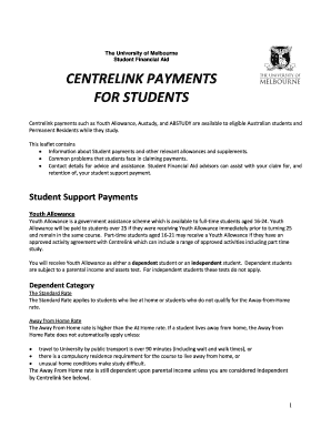 centrelink payments such as youth allowance austudy and abstudy are available to eligible australian - Youth Allowance Form