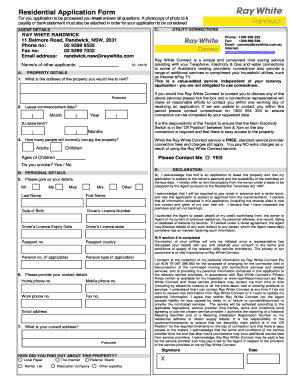 filling out residential tenancy application