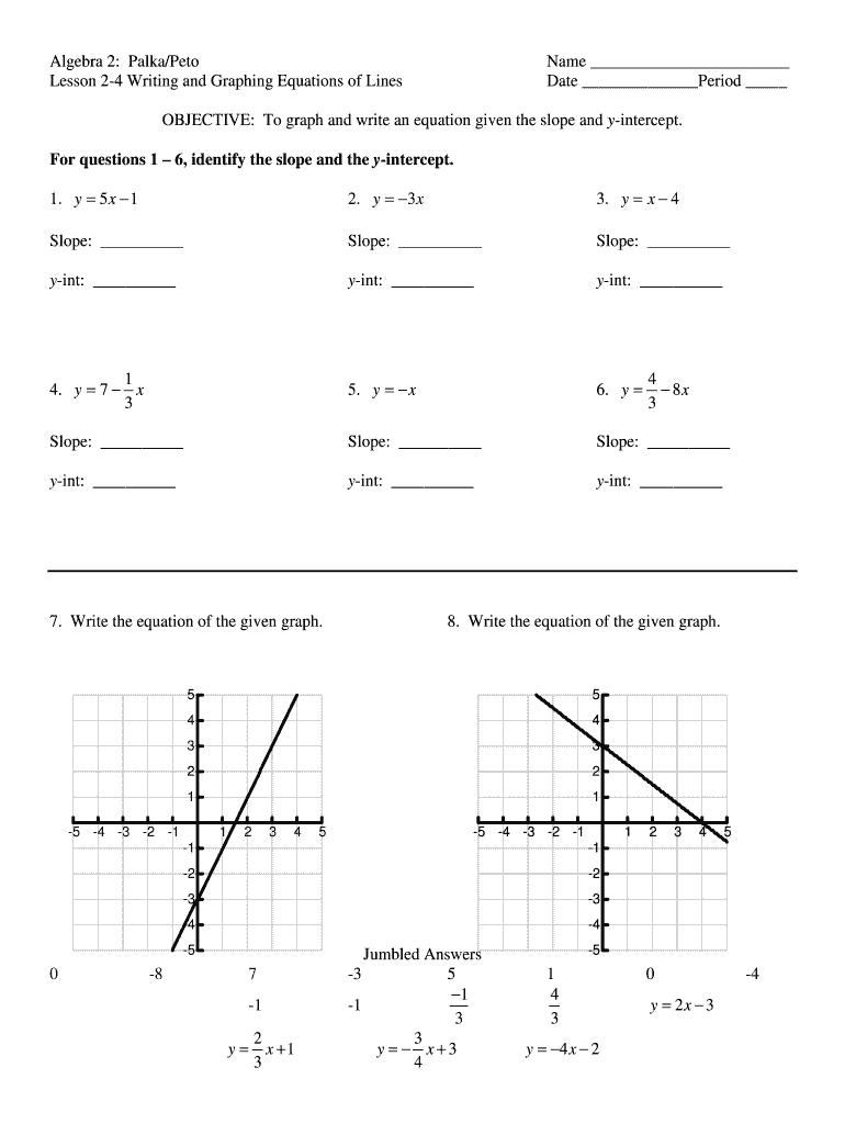 slope intercept form quiz doc  Slope Intercept Form Word Problem Generator - Fill Online ...