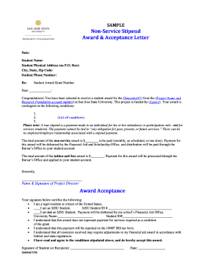 SAMPLE OF AWARD LETTER - SJSU Research Foundation - sjsufoundation
