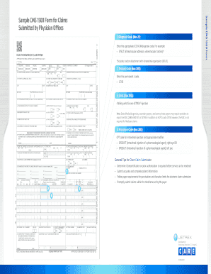 Sample CMS 1500 Form Sample CMS 1500 Form for Claims Submitted by Physician Offices 1